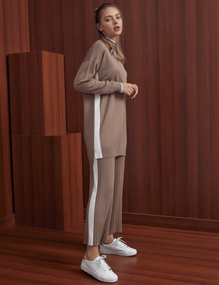 Wide Leg Knit Pants A20 TRK18 Beige