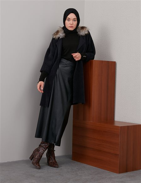 Furry Knitwear Coat Black A20 TRK31