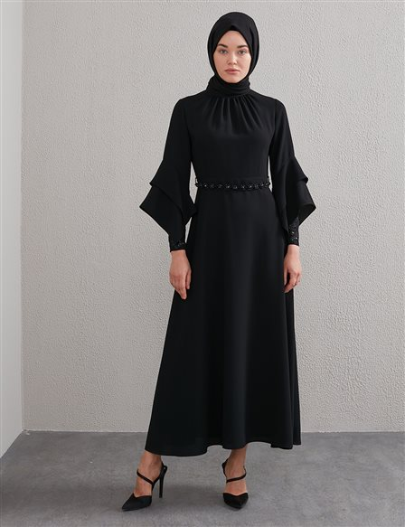 Gathered Collar, Belted Dress Black A20 23113