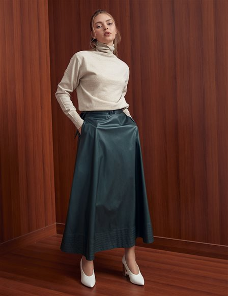 High Waist Faux Leather A-line Skirt Emerald A20 12037