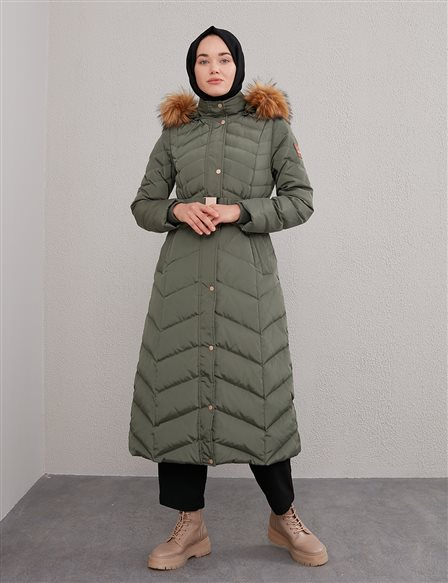 Zigzag Pattern Quilted Goose Down Coat A20 27004 Khaki