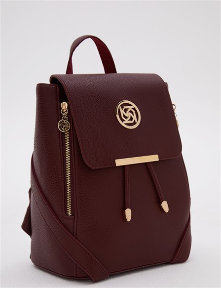Backpack With Zipper Burgundy A20 CNT01