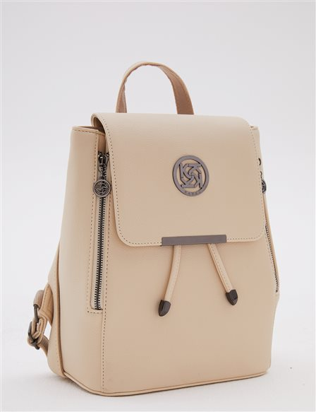 Backpack With Zipper Beige A20 CNT01