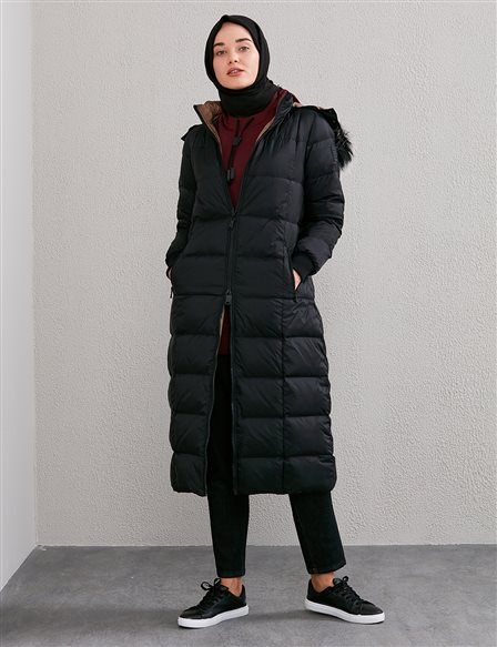 Double Sided Inflatable Coat A20 27005 Black Beige