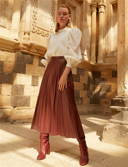 Pleated Leather Skirt A20 12012 Burgundy