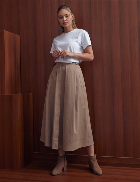 Pleated Skirt With Pockets A20 12041 Beige
