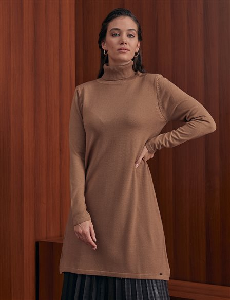 Basic Turtleneck Knitwear Tunic SZ TRK40 Beige
