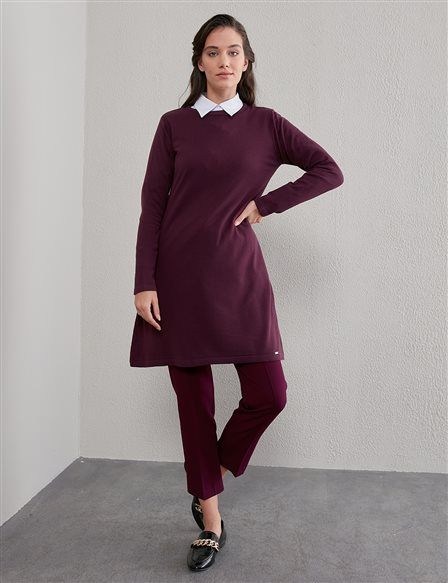 Basic Round Neck Knit Tunic SZ TRK41 Plum