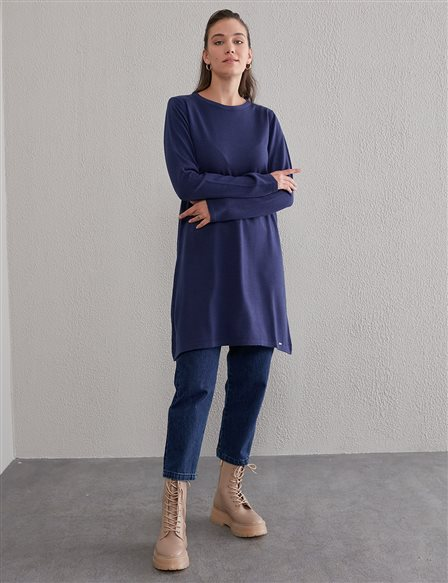 Basic Round Neck Knit Tunic SZ TRK41 Indigo