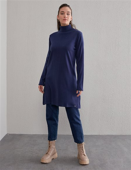 Basic Turtleneck Knitwear Tunic SZ TRK40 Indigo