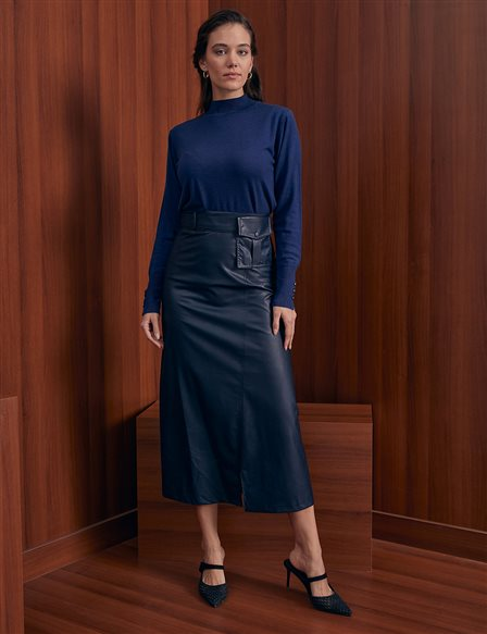 Kangaroo Pocket Faux Leather Skirt A20 12013 Navy