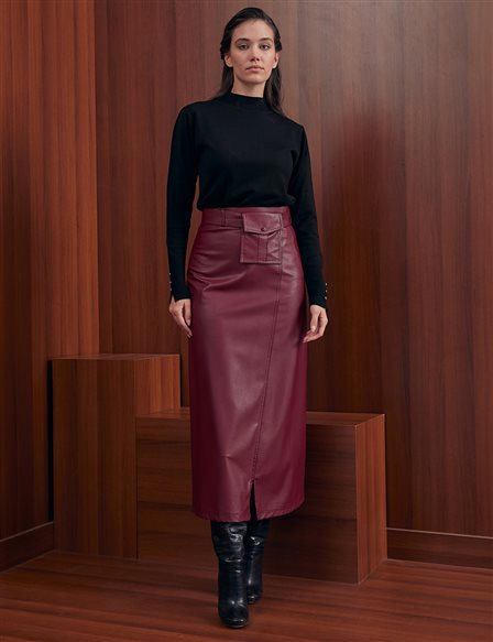 Kangaroo Pocket Faux Leather Skirt A20 12013 Cherry