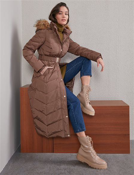 Zigzag Pattern Quilted Goose Down Coat A20 27004 Camel