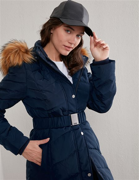 Zigzag Pattern Quilted Goose Down Coat A20 27004 Navy