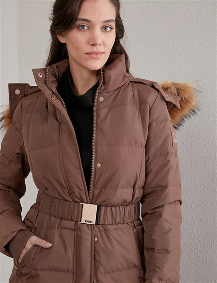 Long Goose Down Coat With Fur Belt and Quilted A20 27007 Camel