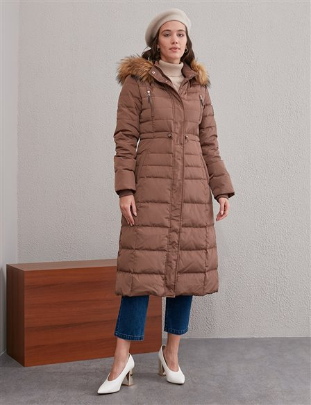 Quilted Short Goose Down Coat A20 27001 Camel