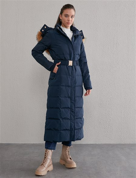 Long Goose Down Coat With Fur Belt and Quilted A20 27007 Navy