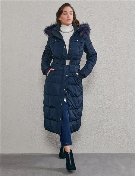 Long Goose Down Coat With Furry A20 27003 Navy