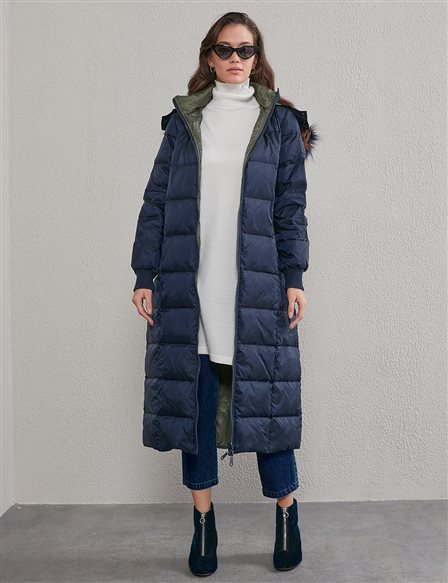 Double Sided Inflatable Coat A20 27005 Navy Khaki