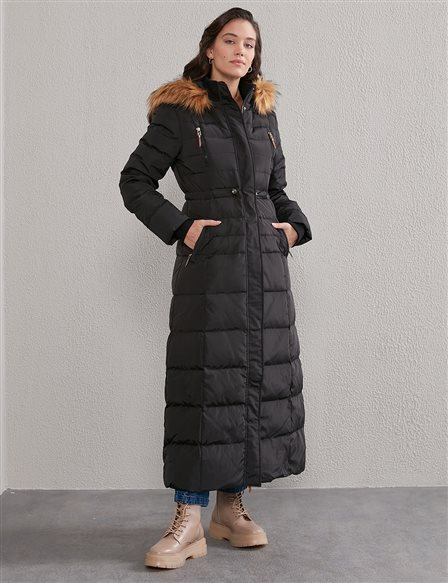 Square Quilted Long Goose Down Coat A20 27002 Black