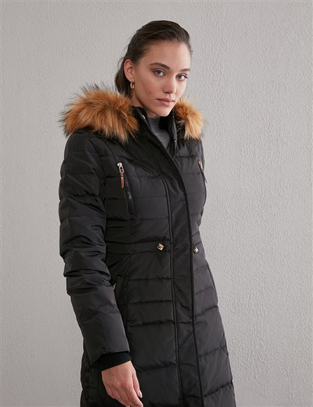Fur and Quilted Short Goose Down Coat A20 27001 Black