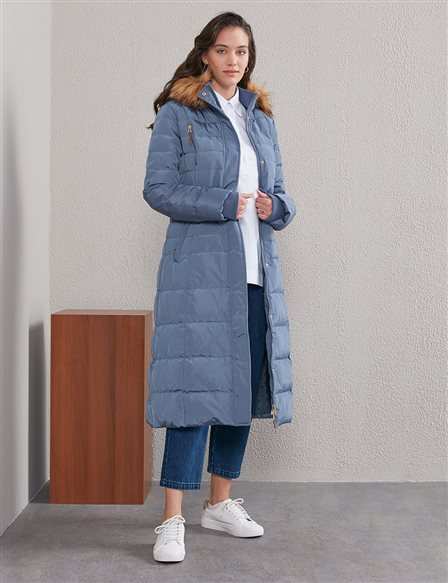 Fur and Quilted Short Goose Down Coat A20 27001 Indigo