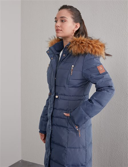 Square Quilted Long Goose Down Coat A20 27002 Indigo