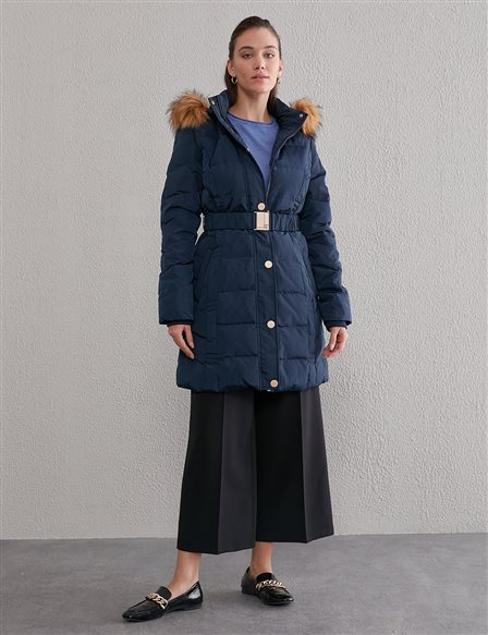 Quilted, Hooded Goose Down Coat A20 27006 Navy