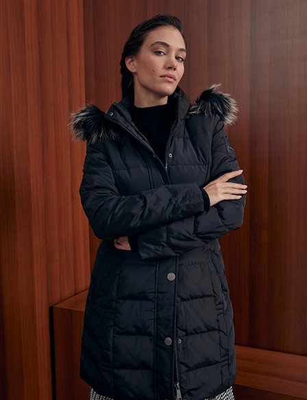 Quilted, Hooded Goose Down Coat A20 27006 Black