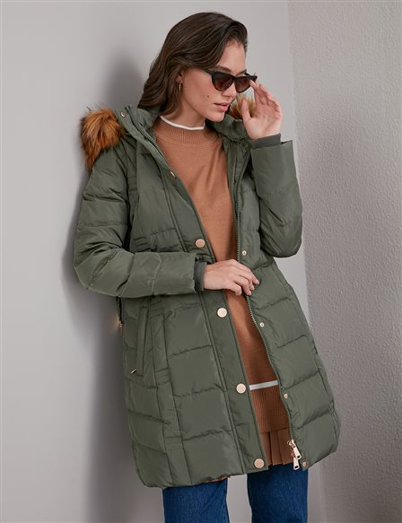 Quilted, Hooded Goose Down Coat A20 27006 Khaki
