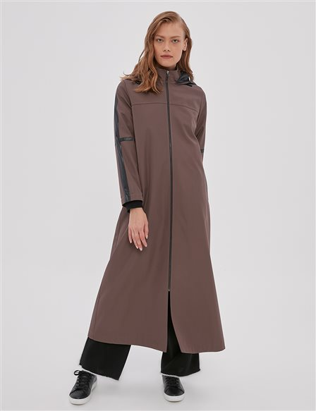 Hooded, Ribbon Detailed Trenchcoat A20 25098 Dark Mink