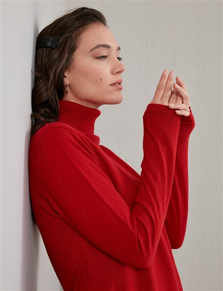 Basic Turtleneck Knitwear Tunic SZ TRK40 Red