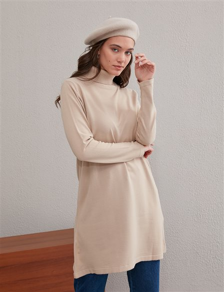 Basic Turtleneck Knitwear Tunic SZ TRK40 Stone