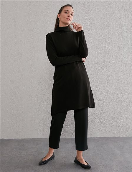 Basic Turtleneck Knitwear Tunic SZ TRK40 Black