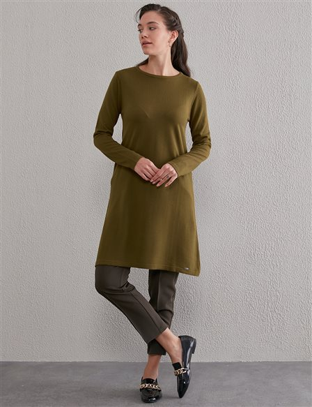 Basic Round Neck Knit Tunic SZ TRK41 Khaki