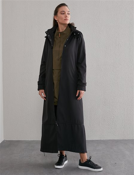 Hooded Piped Trench Coat A20 25093 Black