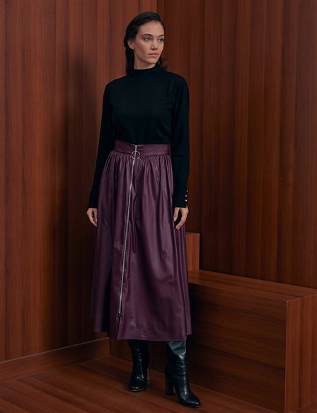 KYR Zipper Detailed A-line Skirt A20 72099 Plum