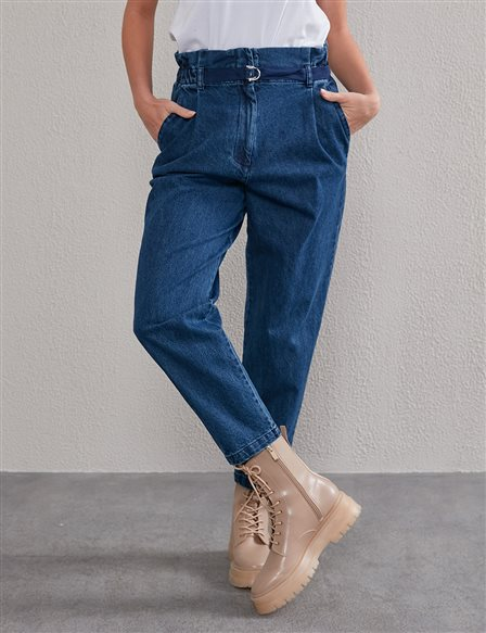 Elastic and High Waist Jean A20 19020 Navy