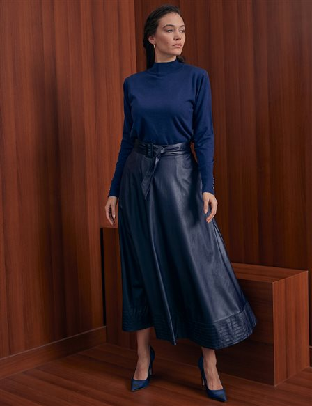 High Waist Faux Leather A-line Skirt A20 12037 Navy