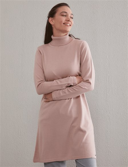 Basic Turtleneck Knitwear Tunic SZ TRK40 Blush