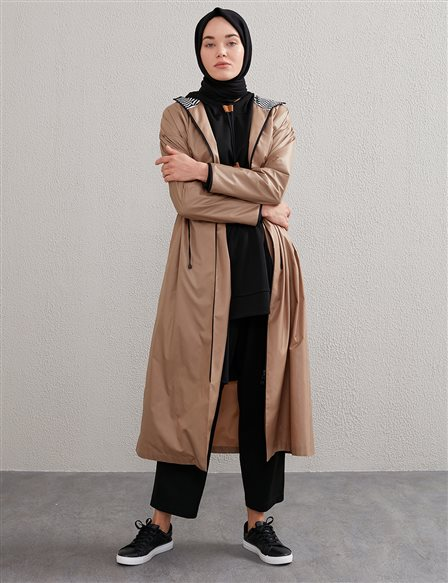 Sport Trench Coat with Shirred Waist A20 25102 Beige