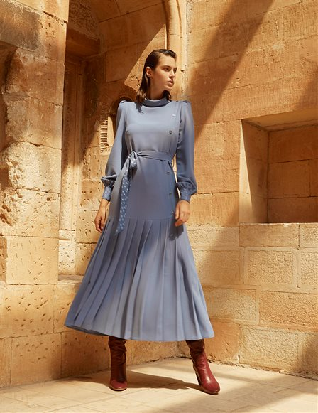 Pleated Dress Blue A20 23115