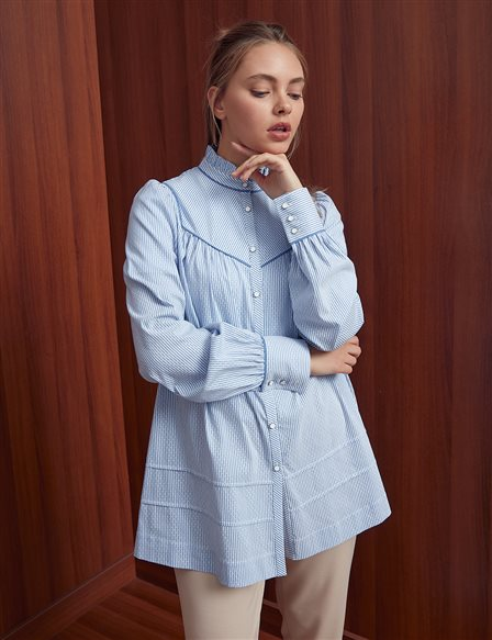 Striped Tunic With Frilly Collar A20 21264 Blue
