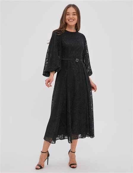 Laced Balloon Sleeve Dress A20 23122 Black