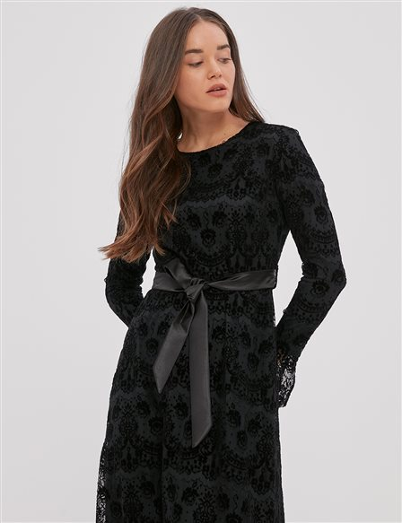 Belted, Laced Dress A20 23128 Black