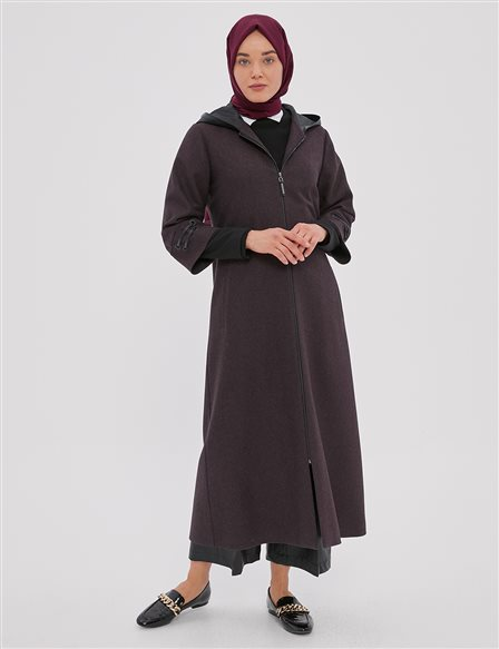 Hooded Trech Coat A20 25091 Burgundy