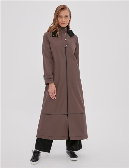Piece Detailed Trench Coat A20 25093 Dark Mink