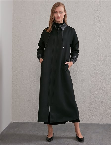 Artificial Leather Detailed Trench Coat A20 25116 Black