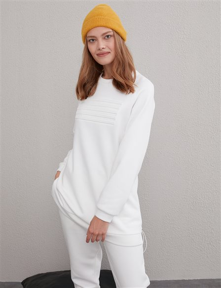 Embossed Sweatshirt A20 31006 White