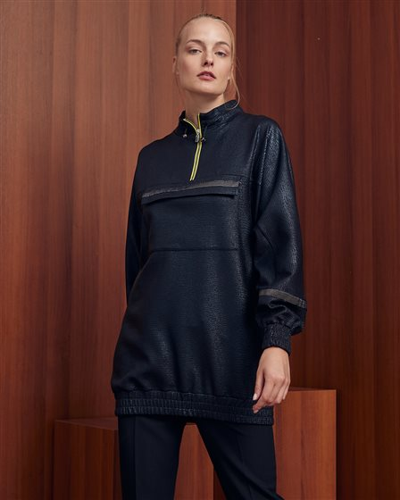 Pocket Detailed Zipper Collar Sweatshirt A20 31012 Black